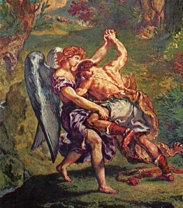 Jacob and the Angel by Eugène Delacroix used via Wikicommons